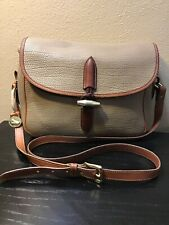 Vintage Dooney & Bourke AWL Tan Leather Brown Trim Crossbody Large Shoulder Bag