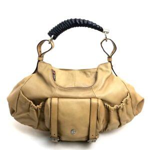 YVES SAINT LAURENT Mombasa Tote Bag Shoulder Bag Hand Bag Beige Leather 122402