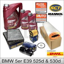 BMW 5er E39 525d 530d Inspektionspaket Filterset Filtersatz + 7L MANNOL 5W-30