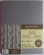 """Recollections Cardstock Paper 8 1/2"""" x 11"""" 50 Sheets single color Grey Kraft"""