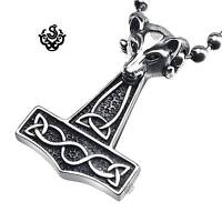 Silver goat head pendant stainless steel Thor's Hammer ball chain necklace 60cm