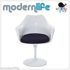 mid century modern saarinen style tulip side arm chair : black