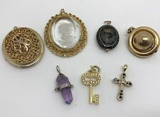 Lot of 7 Costume Jewelry Necklace Pendants, Gold-tone, Rhinestone, Locket (RF641