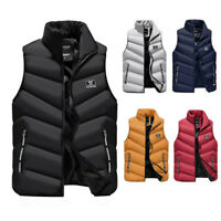 Men'S Sleeveless Puffer Jackets Winter Coat Padded Quilted Zip Vest Outwear Top