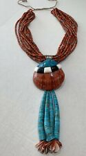 Santo Domingo Large Shell 10 Stand Coral and Turquoise Jacla Necklace