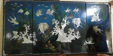 Vietnam Abalone Mother of Pearl 4 Panels Black Lacquer Koi Goldfish