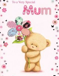 Special Mum ~ Birthday Card ~ Cute Hessian Bear ~ By Greetings Free P&P