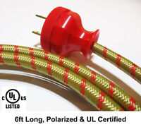 New Vintage Style Cloth Covered Electrical Cord w/ Repro Bakelite Polarized Plug