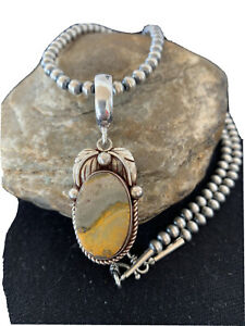 Native American Navajo Sterling Silver BumbleBee Jasper  Necklace Pendant 01358