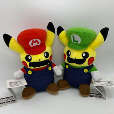 2X Pokemon Crossover Mario & Luigi Pikachu Plush Soft Toy Doll Teddy 8.5""