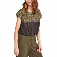 MSRP $98 Free People   Georgia Embroidered Bubble Top Bitter Olive Combo Size M