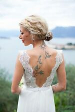 Handmade Chiffon Cap Sleeve Wedding Dresses