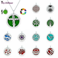 New 30mm Zinc Alloy Essential Oil Aroma Diffuser Locket Necklace Pendant +5 pads