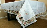 "72x144"" Embroidery Organza Polyester Tablecloth 12 Napkins Wedding Banquet Party"