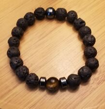 bead bracelet(stretch) natural black lava hematite and tiger eye