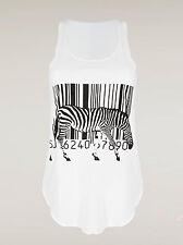 Girls Tank Top Cotton Blouse Pop Art Summer Beach Singlet Zebra Barcode