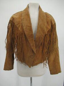 L8521 VTG Cripple Creek Women's Rancher Cowgirl Fringe Suede Leather Jacket XL
