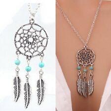 Women Boho Vintage Silver Feather Dreamcatcher Pendant Necklace Sweater Chain