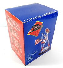 1990 The Marvel Collection Captain America Figurine with Cherrywood Base In Box