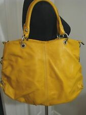 Womens Buttercup Gold Leather, Made In Italy, Large Bucket Tote Shoulder Handbag