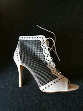 DOROTHY PERKINS Suede Mesh Lace Up Peep-Toe Ankle Boots / Shoes UK 6