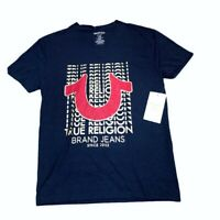 True Religion Men's V-Neck Horseshoe Logo T-Shirt Sz L, Color Navy, NWT