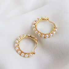 Boucles d'Oreilles Creole Argent 925 Perle Culture Blanc 3mm Plaqué Or TZ2 005