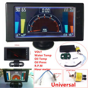 Multipurpose LCD Digital 6 in1 Car Meter Oil Pressure Gauge+Sensor VOLT RPM Hour
