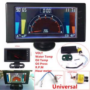Multipurpose LCD Digital 6 in1 Car Meter Oil Pressure Gauge+Sensor VOLT RPM Hour