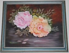 "FLORAL OIL ON CANVAS PAINTING SIGNED GEO DEPONTES 16"" X 20"" / 19' x 23"" framed"