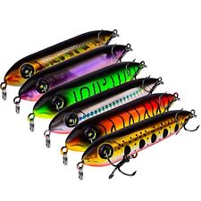 6pcs Topwater Popper Fishing Pencil Minnow Fish Bass Lure Hook Baits 11cm/10.5g
