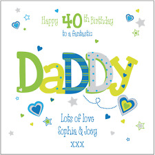 Personalised 40th Birthday Card Daddy Dad Grandad Any Name Message