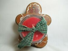 Hand Crafted Wood Gingerbread Base Holding A Votive Cup