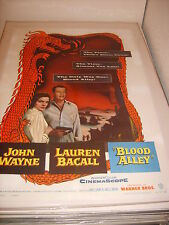 BLOOD ALLEY JOHN WAYNE 1955 ORIGINAL AUTHENTIC MOVIE POSTER LINEN BACKED (505)