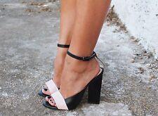 Zara cuir géométrique talon haut sandales taille uk 4 eu 37