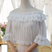 Sweet Women's Lolita Lace Inner Shirt Short Sleeve Blouse White Japanese#RF-N137