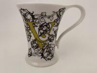 "Cypress Home Black Roses Monogramed ""V"" Coffee Mug Tea Cup 8 Oz"