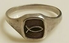 Vintage Ring Masters Sterling Silver Ring Ichthus Christian Fish - Size 5