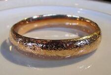 Antique 14K Rose Gold Engraved Bangle Bracelet Circa 1910