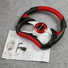 Universal Red  PU Leather Stitching Sport Steering Wheel F1 JDM Auto Car Racing