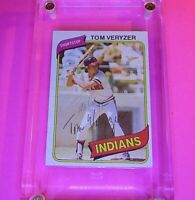 AUTOGRAPH 1980 Topps #276 TOM VERYZER Indians, SIGNED Baseball card auto