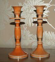 Pair Orange Metal Candle Stick Holders Modern Chic 20cm Shabby New