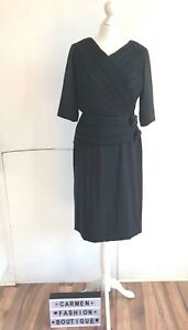VINTAGE BLACK OCCASION DRESS 1960's 60's LADY IN BLACK WILL FIT UK 12 EU 40 US 8