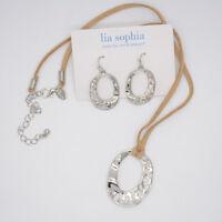 lia sophia jewelry polished silver twist pendant necklace drop hoop earrings