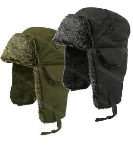 TRAPPER HATS RUSSIAN UNISEX MENS WOMENS WINTER WARM FUR LINED SHOWER PROOF HAT