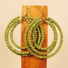 "2 1/2"" Green Color Triple Hoop Gypsy Style Handmade Seed Bead Hook Earrings"