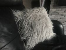 "Cushions Set of 4 SILVER Long faux fur Cushion covers  17""x17"""