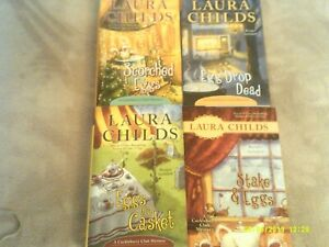 LAURA CHILDS---4 Hardcover books--From The CACKLEBERRY CLUB  Mystery /series