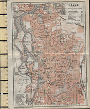 1925 GERMAN MAP ~ HALLE CITY PLAN ENVIRONS ~ ZOO THEATRE POLICE CHUCHES MUSEUM