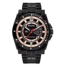 Bulova 98B143 Precisionist Rose Gold &Charcoal Grey Dial Anodized Black S/S Band
